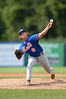Tryston Barlow (6) of Dyer County High School in Halls, Tennessee playing for the New York Mets scout team during the East Coast Pro Showcase on August 1, 2014 at NBT Bank Stadium in Syracuse, New York.  (Mike Janes/Four Seam Images)