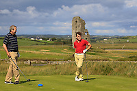 David Hunt (Nenagh) & Chris Carroll (Shandon Park) on the 13th tee during Round 2 of The South of Ireland in Lahinch Golf Club on Sunday 27th July 2014.<br /> Picture:  Thos Caffrey / www.golffile.ie