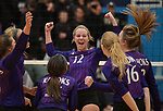 Collinsville's Riley Ponce (center) celebrates with teammates after scoring against O'Fallon. O'Fallon defeated Collinsville to win the Class 4A Regional volleyball title at Belleville East High School on Thursday October 25, 2018. <br /> Tim Vizer/Special to STLhighschoolsports.com