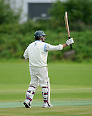 East of Scotland Cricket League, Div 3 - Clackmannan County CC v Livingston CC - Livingston batsman Faraz Ashghar signals his 50, on his way to 62 not out - Picture by Donald MacLeod 17.07.10 - mobile 07702 319 738 - clanmacleod@btinternet.com