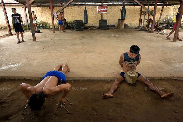 Burmese fighters train in a basic gym in Hpa An, east of the capital Yangon. All their equipment is homemade.<br />
