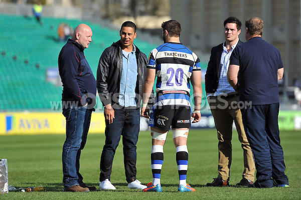 Ex-Bath player Shontayne Hape speaks to Rugby Operations Manager Dave Guyan and Guy Mercer after the match. Aviva Premiership match, between Bath Rugby and Worcester Warriors on April 19, 2014 at the Recreation Ground in Bath, England. Photo by: Patrick Khachfe / Onside Images