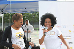 Founder Deborah Koenigsberger and Another World's and singer Rhonda Ross sings the National Anthem  - Hearts of Gold 7th Annual Run/Walk for Kids with proceeds from this fun family event will change the futures of homeless mothers and their children on June 3, 2017 at Pier 84 Hudson Parks, New York City, New York. It supports Hearts of Gold Annual Back to School Programs. (Photo by Sue Coflin/Max Photos)