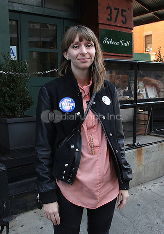 NEW YORK, NY - NOVEMBER 8:  An unidentified Hillary Clinton supporter in Tribeca on the afternoon of the U.S. presidential election in New York, New York on November 8, 2016.  Photo Credit: Rainmaker Photo/MediaPunch