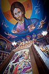 Icon of the nativity and Christ Pantocrator on the ceiling, Christmas Liturgy Service, St. Sava Serbian Orthodox Church, Jackson, Calif.