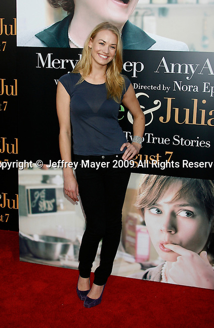 """WESTWOOD, CA. - July 27: Yvonne Strahovski arrives at the Los Angeles screening  of """"Julie & Julia"""" at the Mann Village Theatre on July 27, 2009 in Westwood, California."""