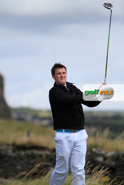 Paul O'Hara (Kilkenny) on the 17th tee during the South of Ireland Amateur Open Championship 5th Round at Lahinch Golf Club  30th July 2013 <br /> Picture:  Thos Caffrey / www.golffile.ie