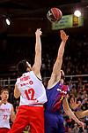 League ACB-ENDESA 2017/2018 - Game: 20.<br /> FC Barcelona Lassa vs Retabet Bilbao Basket: 90-58.<br /> Lucio Redivo vs Pau Ribas.