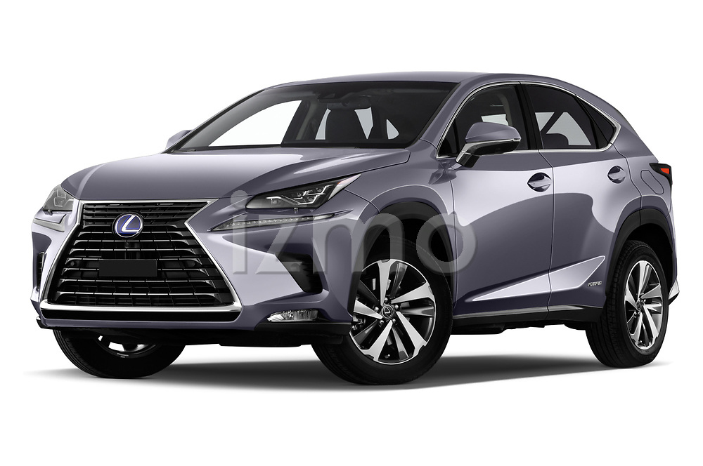 Stock pictures of low aggressive front three quarter view of a 2018 Lexus NX Executive Line 5 Door SUV
