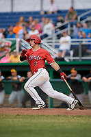 Batavia Muckdogs third baseman Denis Karas (9) follows through on a swing during a game against the West Virginia Black Bears on June 19, 2018 at Dwyer Stadium in Batavia, New York.  West Virginia defeated Batavia 7-6.  (Mike Janes/Four Seam Images)