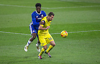 Phil Edwards of Oxford United holds off Ola Aina of Chelsea during the The Checkatrade Trophy match between Chelsea U23 and Oxford United at Stamford Bridge, London, England on 8 November 2016. Photo by Andy Rowland.