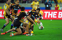 Ma'a Nonu reaches for a disallowed try during the Super Rugby match between the Hurricanes and Chiefs at Westpac Stadium, Wellington, New Zealand on Saturday, 16 May 2015. Photo: Dave Lintott / lintottphoto.co.nz