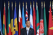 United States President Barack Obama delivers a toast during a luncheon hosted by United Nations Secretary-General Ban Ki-moon during the 70th annual UN General Assembly at the UN headquarters September 28, 2015 in New York City. Obama held a bilateral meeting with Indian Prime Minister Narendra Modi and will have a face-to-face meeting with Russian President Vladimir Putin later in the day. <br /> Credit: Chip Somodevilla / Pool via CNP