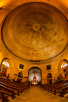 Interior view of the cylindrical Church of La Encarnacion with rotunda dome,  in the hill top town of Montefrio, Granada Province, Andalusia, Spain The church is modeled after the Pantheon in Rome, Italy.
