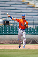 St. Lucie Mets third baseman Cody Bohanek (10) throws to first base during a Florida State League game against the Bradenton Marauders on July 28, 2019 at LECOM Park in Bradenton, Florida.  Bradenton defeated St. Lucie 7-3.  (Mike Janes/Four Seam Images)
