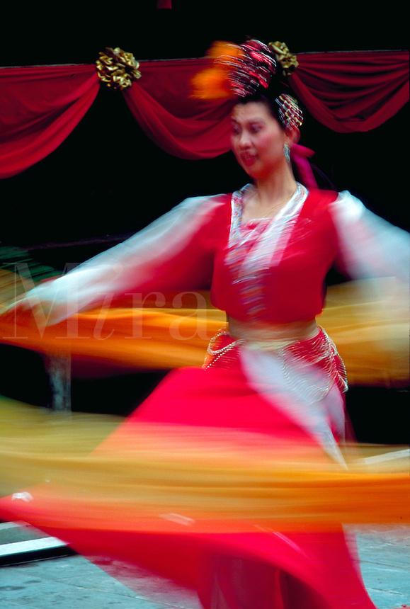 Traditional dancers, Sung Dynasty Village, Hong Kong, China