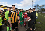 Rushall Olympic 1 Workingon 0, 17/02/2018. Dales Lane, Northern Premier League Premier Division. Rushall Olympic Captain Joe Hull leads his team out. Photo by Paul Thompson. Rushall Olympic 1 Workingon 0, Northern Premier League Premier Division, 17th February 2018. Rushall is a former mining village now part of the northern suburbs of Walsall.