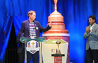 USA Team Captain Davis Love III and European Team Captain Jose Maria Olazabal (ESP) on stage at the Closing Ceremony after Sunday's Singles Matches of the 39th Ryder Cup at Medinah Country Club, Chicago, Illinois 30th September 2012 (Photo Colum Watts/www.golffile.ie)