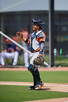 Houston Astros catcher Orlando Marquez (98) during a Minor League Spring Training Intrasquad game on March 28, 2019 at the FITTEAM Ballpark of the Palm Beaches in West Palm Beach, Florida.  (Mike Janes/Four Seam Images)