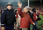 MADISON, WI - NOVEMBER 12: Barry Alvarez of the Wisconsin Badgers waves to the crowd for the last time as head coach at Camp Randall Stadium against the Iowa Hawkeyes on November 12, 2005 in Madison, Wisconsin. The Hawkeyes beat the Badgers 20-10. (Photo by David Stluka)