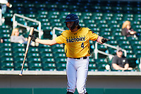 Brett Barrera (4) of Los Osos High School in Etiwanda, California during the Baseball Factory All-America Pre-Season Tournament, powered by Under Armour, on January 13, 2018 at Sloan Park Complex in Mesa, Arizona.  (Freek Bouw/Four Seam Images)
