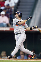 Mike Bordick of the Baltimore Orioles bats during a 2002 MLB season game against the Los Angeles Angels at Angel Stadium, in Los Angeles, California. (Larry Goren/Four Seam Images)