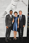 "Chadwick Boseman, Calista Flockhart, Harrison Ford. Los Angeles premiere of Warner Bros. Pictures' and Legendary Pictures' ""42,"" at TCL Chinese Theater. Hollywood, CA USA. April 9, 2013.©CelphImage"