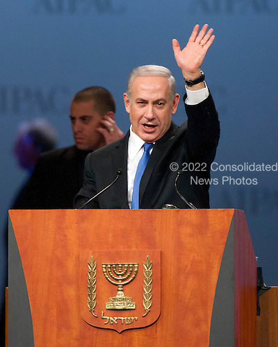 Prime Minister Benjamin Netanyahu of Israel speaks at the annual American Israel Public Affairs Committee (AIPAC) Policy Conference at the Washington Convention Center in Washington, D.C. on Monday, March 5, 2012..Credit: Ron Sachs / CNP