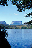 The Rio Carrao with Tepuis Kurin, Kuravaina, and Venado in the background, Canaima National Park,  Bolivar state, Venezuela