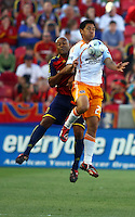 Robbie Russell and Brian Ching in the Real Salt Lake v Houston 0-0 draw win at Rio Tinto Stadium in Sandy, Utah on August 15, 2009