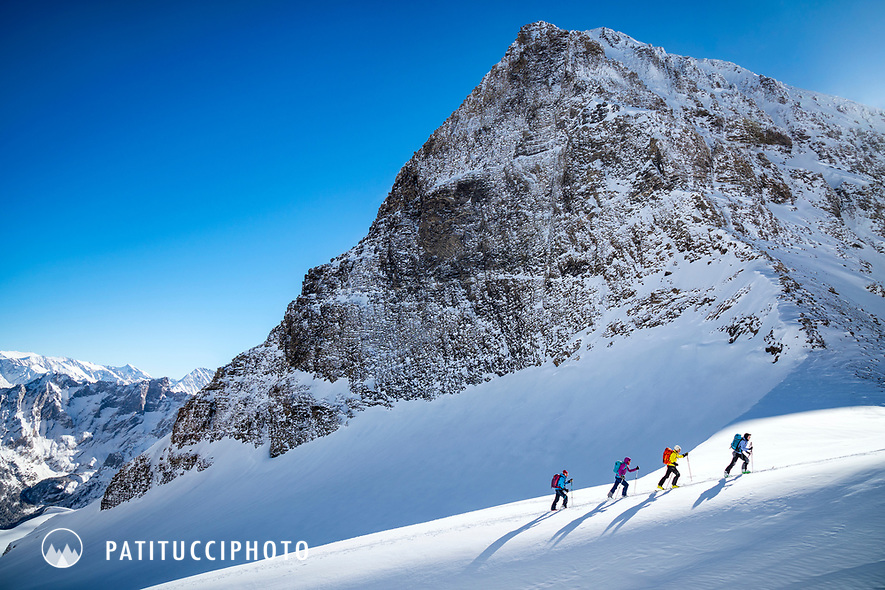 Ski touring beneath the Schwarzhorn, above Rosenlaui, Switzerland