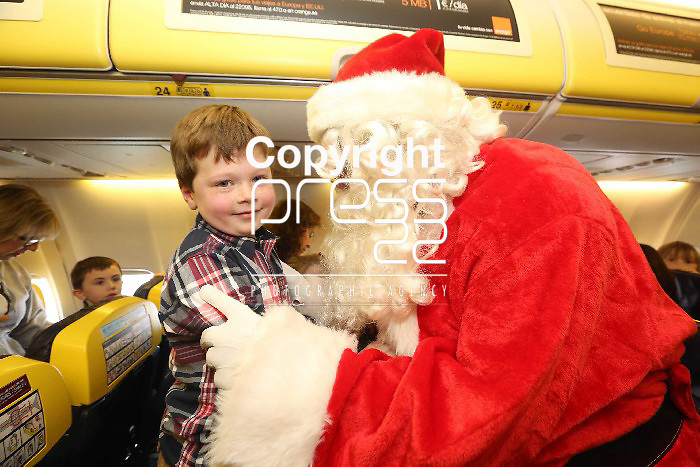 Free Pics    With Compliments Daniel Kirby from Grange, Limerick pictured on board  the 11.40 Ryanair Santa Flight from Shannon Airport to see Santa on board to 40 minute flight on Sunday as Ryanair and Shannon Airport joined forces with Santa and his elves to offer free flights to the young and the young at heart to meet with the man himself as a thank you to the people of the midwest. Pic. Brian Arthur/ Press 22.