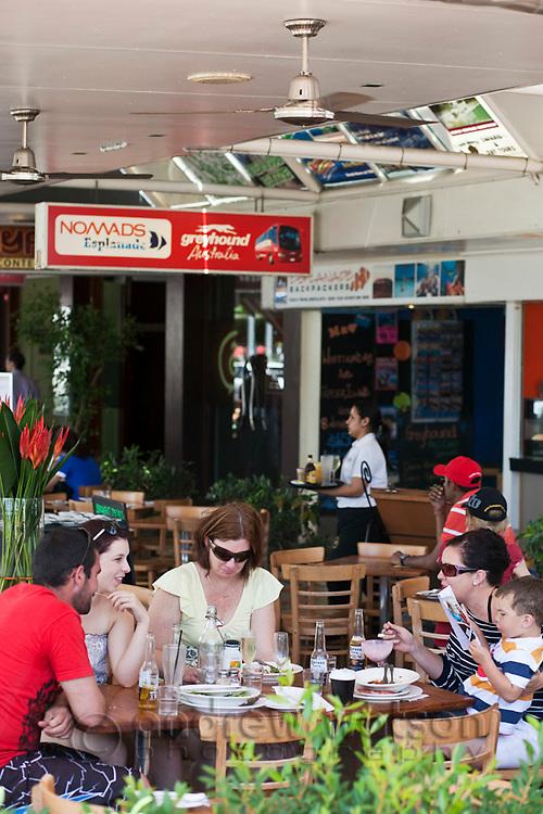 Lunchtime diners on the Esplanade.  Cairns, Queensland, Australia