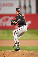 Lake Elsinore Storm relief pitcher Caleb Boushley (17) during a California League game against the Lancaster JetHawks on April 10, 2019 at The Hanger in Lancaster, California. Lake Elsinore defeated Lancaster 10-0 in the first game of a doubleheader. (Zachary Lucy/Four Seam Images)