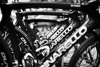 Team SKY teambikes aligned at the start of the last stage<br /> <br /> stage 21: Alcala de Henares - Madrid (98km)<br /> 2015 Vuelta à Espana