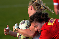 Carolyn McEwen tackles Danielle Waterman during the 2017 International Women's Rugby Series rugby match between England Roses and Canada at Rugby Park in Christchurch, New Zealand on Tuesday, 13 June 2017. Photo: Dave Lintott / lintottphoto.co.nz