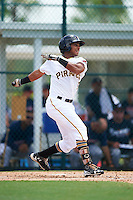 GCL Pirates right fielder Edison Lantigua (10) at bat during a game against the GCL Braves on August 10, 2016 at Pirate City in Bradenton, Florida.  GCL Braves defeated the GCL Pirates 5-1.  (Mike Janes/Four Seam Images)