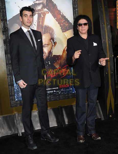 Nick Simmons and Gene Simmons attends The Warner Bros. Pictures L.A. Premiere of 300 : Rise of an Empire held at The TCL Chinese Theatre in Hollywood, California on March 04,2014                                                                               <br /> CAP/DVS<br /> &copy;DVS/Capital Pictures