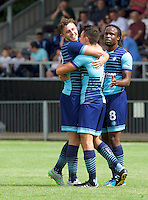 Luke O'Nien of Wycombe Wanderers celebrates with his team mates after scoring to make it 1-2 during the Friendly match between Maidenhead United and Wycombe Wanderers at York Road, Maidenhead, England on 30 July 2016. Photo by Alan  Stanford PRiME Media Images.