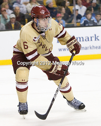 Patrick Wey (BC - 6) - The Boston College Eagles defeated the University of Maine Black Bears 4-1 to win the 2012 Hockey East championship on Saturday, March 17, 2012, at TD Garden in Boston, Massachusetts.