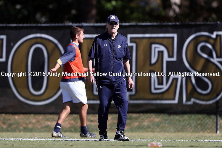 06 November 2016: Notre Dame head coach Bobby Clark (SCO). The Wake Forest University Demon Deacons hosted the University of Notre Dame Fighting Irish at Spry Stadium in Winston-Salem, North Carolina in a 2016 NCAA Division I Men's Soccer match and an Atlantic Coast Conference Men's Soccer Tournament quarterfinal. Wake Forest won the game 1-0.