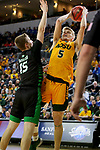 SIOUX FALLS, SD - MARCH 10: Sam Griesel #5 of the North Dakota State Bison shoots a short jumper over Brady Danielson #15 of the North Dakota Fighting Hawks during the men's championship game at the 2020 Summit League Basketball Tournament in Sioux Falls, SD. (Photo by Dave Eggen/Inertia)