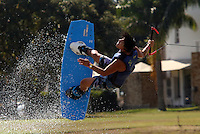 CALI -COLOMBIA-27-07-2013. Jaime Bazan de Ecuador durante la prueba Wake Board  en los Juegos Mundiales Cali 2013 realizado en la ciudad de Cali./ Jaime Bazan of Ecuador in his presentation in Wake Board during the World Games Cali 2013  at Cali city  Photo: VizzorImage/Juan C. Quintero/STR