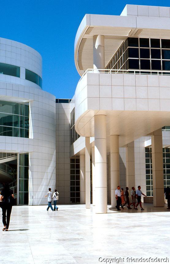 Richard Meier: Getty Center Entrance Pavilion.  Right, note white and beige enamel, beige everywhere except left, north pavilion.  Photo '99.