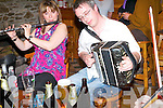 Eilish Murphy and Jonathon Roche performing in O'Sulleabhains (Rogers) Bars in Kilgarvan at the annual music festival.