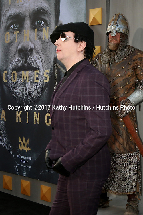 "LOS ANGELES - MAY 8:  Marilyn Manson at the ""King Arthur Legend of the Sword"" World Premiere on the TCL Chinese Theater IMAX on May 8, 2017 in Los Angeles, CA"