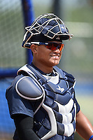 New York Yankees catcher Alvaro Noriega (24) during practice before a minor league spring training game against the Toronto Blue Jays on March 24, 2015 at the Englebert Complex in Dunedin, Florida.  (Mike Janes/Four Seam Images)