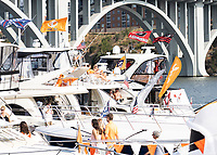 KNOXVILLE, TN - OCTOBER 5: Vol Navy prior to the Tennessee vs Georgia game with a single boat with Georgia flags during a game between University of Georgia Bulldogs and University of Tennessee Volunteers at Neyland Stadium on October 5, 2019 in Knoxville, Tennessee.
