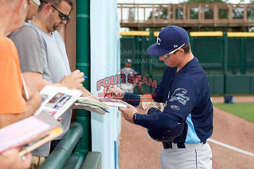 Charlotte Stone Crabs first baseman Brendan McKay (31) signs autographs before a game against the Bradenton Marauders on June 3, 2018 at LECOM Park in Bradenton, Florida.  Charlotte defeated Bradenton 10-1.  (Mike Janes/Four Seam Images)