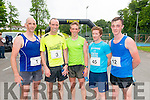 Top five finishers of Killarney Lions Club 10k run in aid of Kerry Spina Bifida Hydrocephalus Association in the Castle Ross Hotel, Killarney last Saturday morning. L-R Donal Leahy (4th place), Robert Purcell (2nd place), Arthur Fitzgerald (1st place), Roland Eagar (3rd place) and Matthew Collins (5th place).